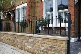 brick garden wall imperial stock york stone metal rails gate path