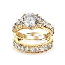 fashion double rings images Yanhui brand luxury real 18k gold filled lovers double ring jpg
