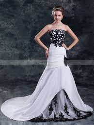 two color wedding dress two tone strapless appliqued mermaid gown with chapel and