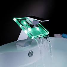 color changing led bathroom sink faucet waterfall