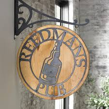 personalized reclaimed barn wood pub sign wine enthusiast