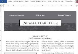 black tie newsletter design template for word