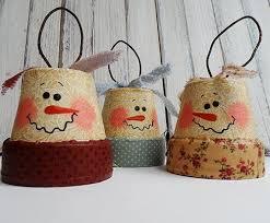 vintage clay pot snowman diy ornaments allfreechristmascrafts