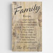 Home Decor Family Signs Personalized Family Recipe Canvas Sign Rustic Wood