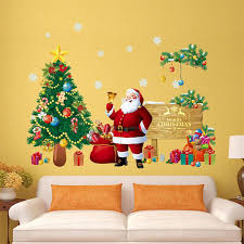 merry wall stickers decoration santa claus gifts tree