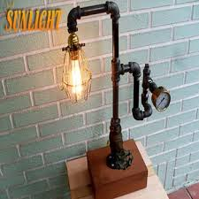 retro pipe steampunk lamp industrial pipe chic light loft vintage