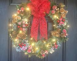 lighted wreath etsy