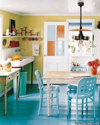 Turquoise And Orange Kitchen by Home Tour Beach Bungalow Martha Stewart