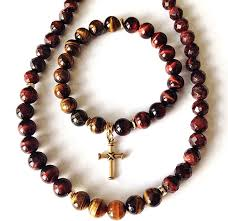 red necklace images Strength men 39 s red tiger eye necklace and bracelet set precious jpg