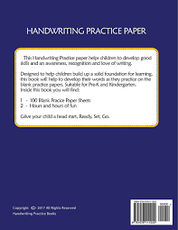 handwriting practice paper blank handwriting book for kids pre