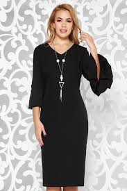 dress with necklace images Black dress elegant pencil slightly elastic fabric midi jpg