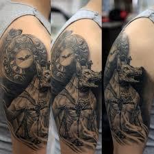Anubis Tattoo Ideas Realistic 3d Upper Arm Anubis Tattoo On Male Tattoo Pinterest