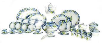 blue edged floral dish set 50 pcs azg8482 39 00 miniature