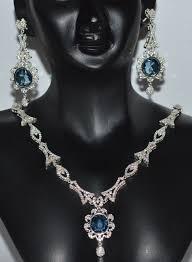 necklace sets design images Diamond necklace set design 7 55 ct diamond sky blue topaz gold JPG