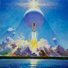 launch of sts 7 robert mccall on canvas 1983