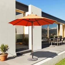 Orange Patio Umbrella galtech 9 ft teak patio umbrella with pulley lift ultimate patio