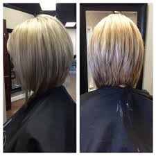 front and back views of chopped hair angled bob hairstyles 42lions com