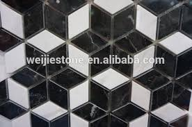 shaped black and white marble flower mosaic floor tile