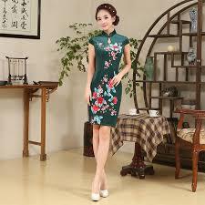 the new green velvet cheongsam dress short paragraph traditional