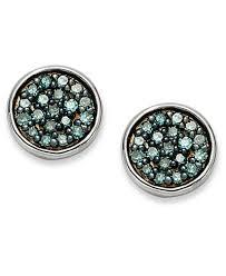 blue stud earrings sterling silver blue diamond stud earrings 1 4 ct t w