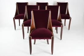 Teak Wood Dining Chairs Dining 1930s French Art Deco Leleu Dining Chairs Set 6french Art