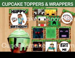 minecraft cupcake ideas printable minecraft cupcake toppers wrappers online party