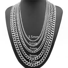 stainless silver necklace images 3 5 5 7 9 11mm mens necklace curb cuban link silver tone stainless jpg