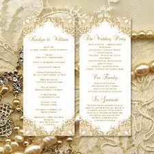 Order Wedding Ceremony Program Wedding Ceremony Program Template Vintage Gold