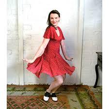 rachel dress flutter sleeves knee length red dot