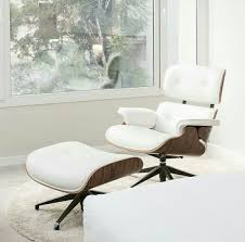 white italian leather ottoman classic lounge chair ottoman white with chrome base white lounge