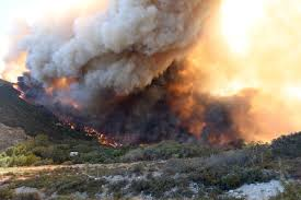 Wildfire Cali by Firefighters Attacking Destructive Southern California Wildfire By
