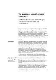 ten questions about language awareness pdf download available
