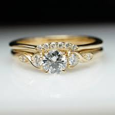 yellow gold bridal sets vintage antique style diamond engagement ring wedding band set