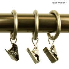 Rod Desyne Heavy Duty Center by Rod Desyne 1 In Decorative Rings In Satin Nickel With Clips Set