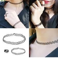 tattoo necklace jewelry images Retro black collar tattoo stretch choker boho elastic necklace jpg
