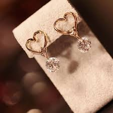 heart shaped earrings 2017 heart shaped earring rhinestones zircon woman earring