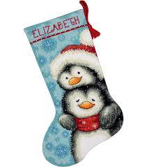 dimensions hugging penguins stocking needlepoint kit joann
