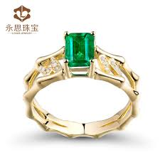 natural gemstone rings images New design natural emerald stone ring emerald cut 5x7mm in solid jpg