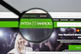 intesa banking milan italy august 10 2017 intesa sanpaolo bank website hom