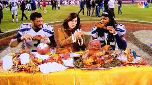 wilson and sherman got the madden turkey to eat in the middle of