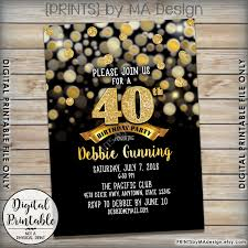 birthday party invitation black u0026 gold birthday invite 30th 40th