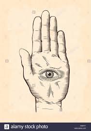 vector illustration of mystic hamsa all seeing eye in symbol