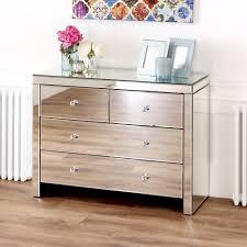 Mirrored Glass Bedroom Furniture Venetian Mirrored 2 Over 2 Drawer Chest Amazon Co Uk Kitchen U0026 Home