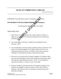 sample letter lease termination notice from landlord