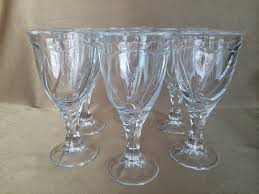 antique etched crystal lily of the valley tumblers and wine glass