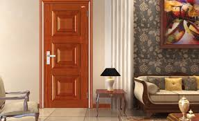 wood door wallpaper sofa and desk lamp home decoration view