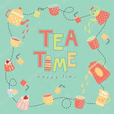 happy green color tea time happy time doodle illustration pastel color vector stock
