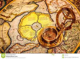 North Pole Map Vintage Compass Lies On The Ancient Map Of The North Pole Also