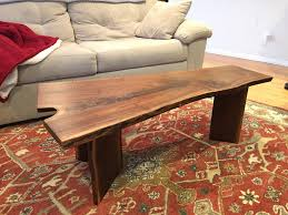 liveedge walnut coffee table with coral inlay boulder furniture arts