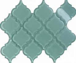 sample blue arabesque moroccan pattern glass mosaic tile kitchen